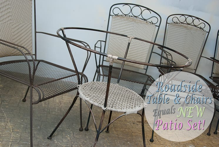 wrought iron patio set before