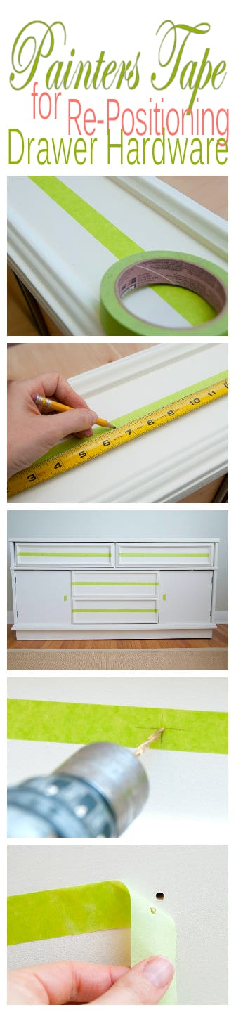 Painters Tape to Help Re-Position Drawer Hardware