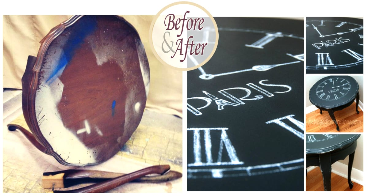 Clock Table Chalk Transfer Before & After
