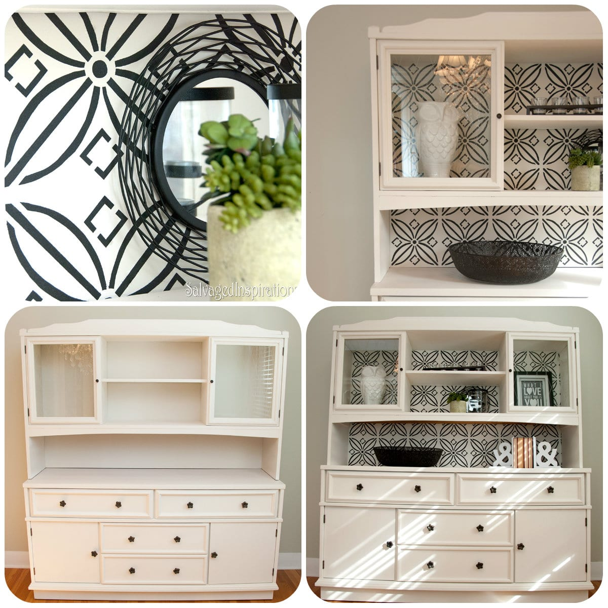 DIY Stenciled China Cabinet