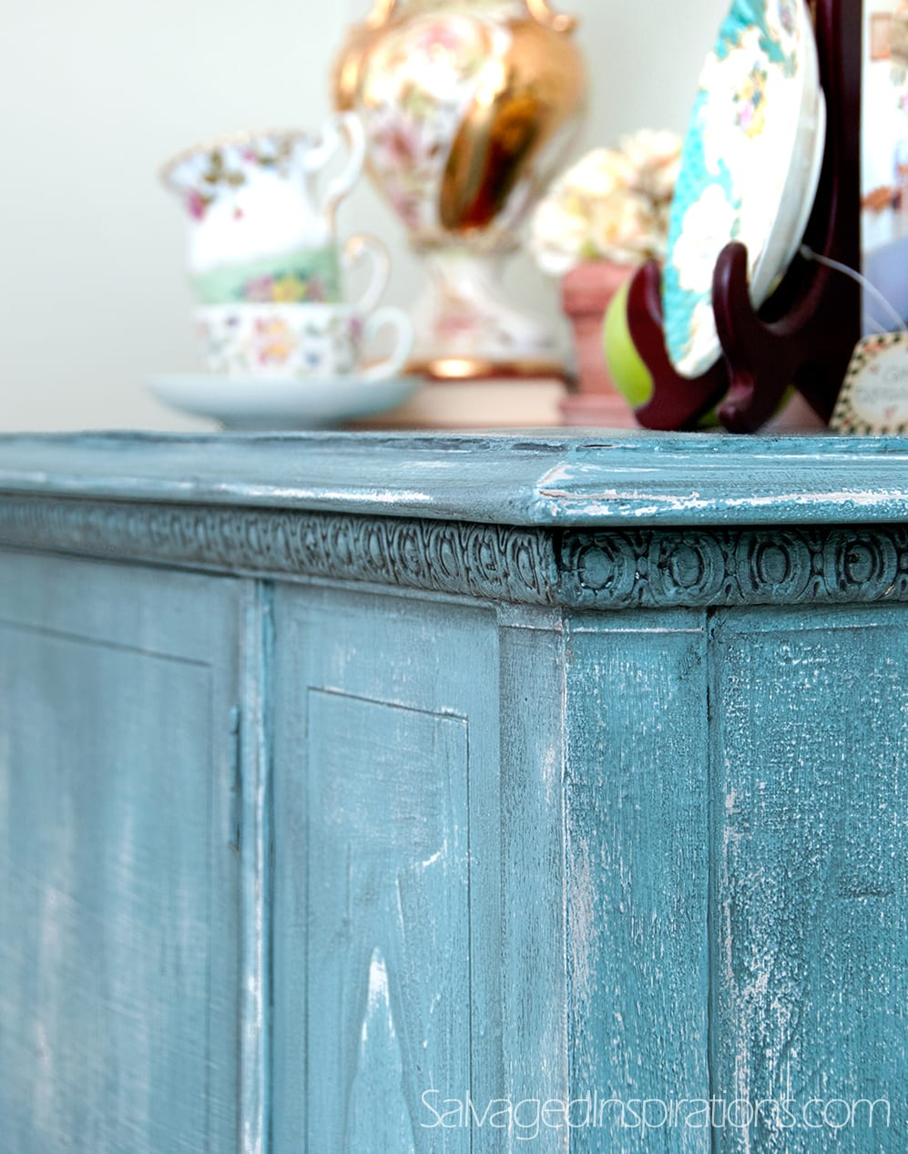 Turquoise French Country Sideboard Re-Do