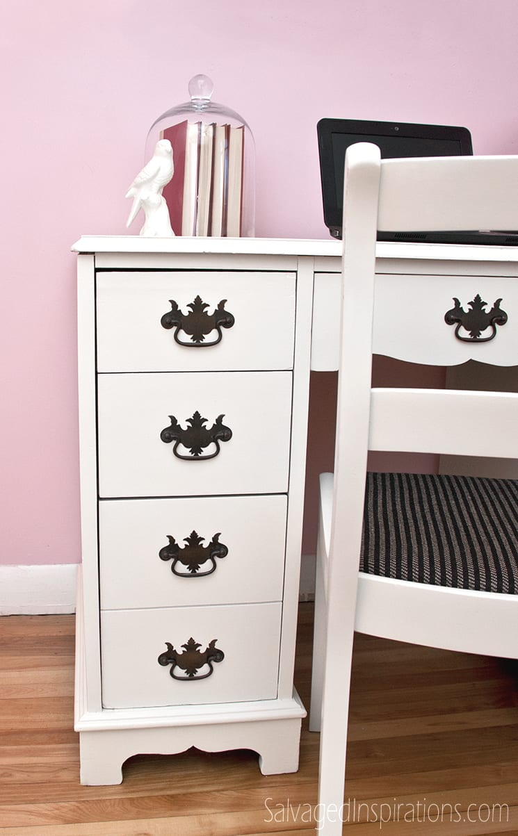 White-Painted-Desk-w-Vintage-Pulls