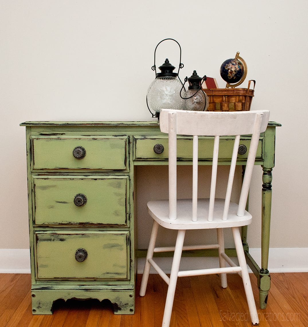 Distressed Chalk Painted Cabinets