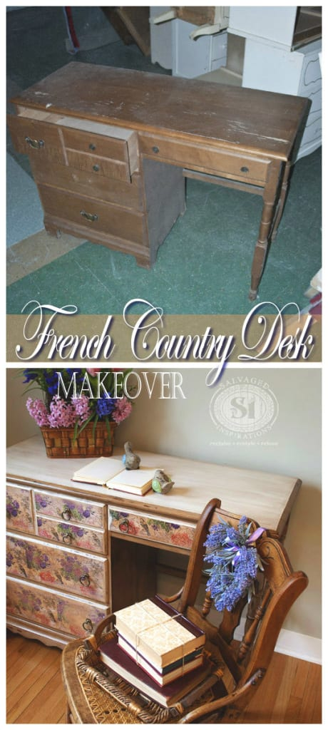 decoupage desk before & after