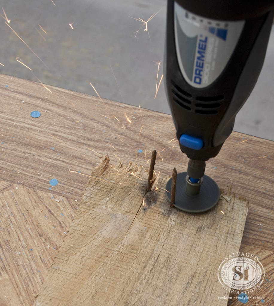 Removing Pallet Board  Nails w Dremel Tool