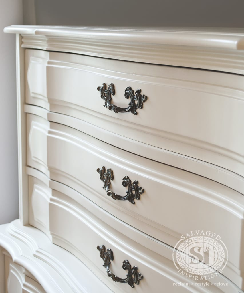 AntqWht French Provincial Tall Drsr