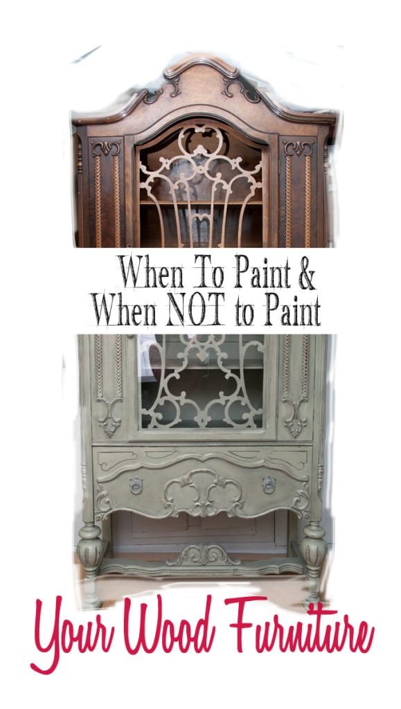 Half Painted Wood China Cabinet