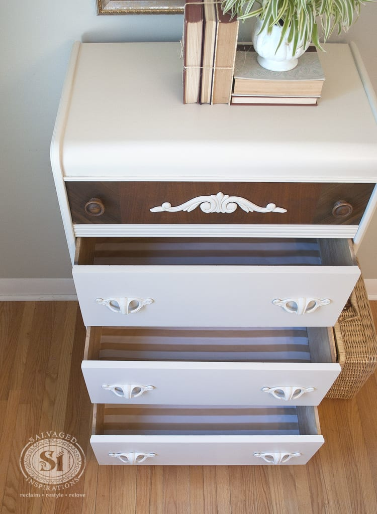 waterfall dresser lined drawers