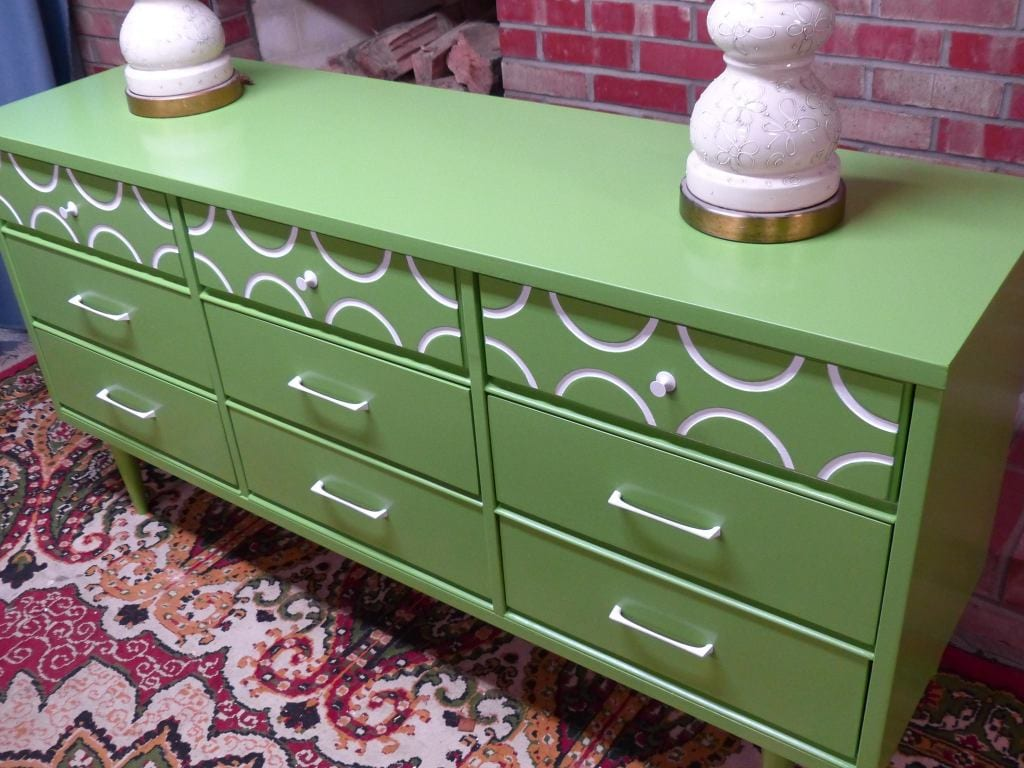 Simple Redesign - apple green dresser