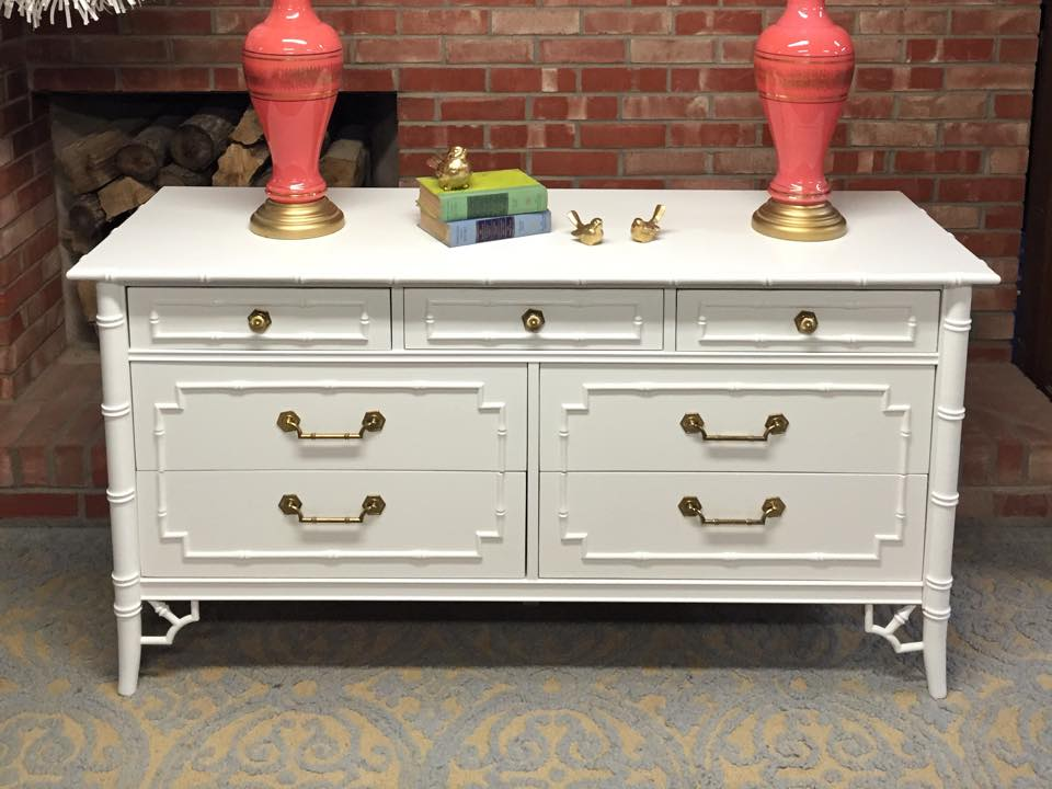 Simple Redesign - painted bamboo dresser