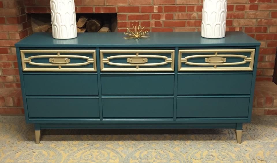 Simple Redesign - teal&gold dresser