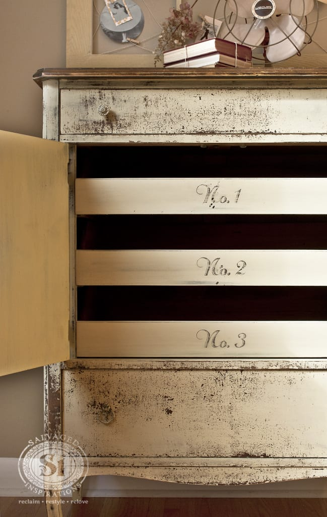 milk painted dresser w numbered drawers