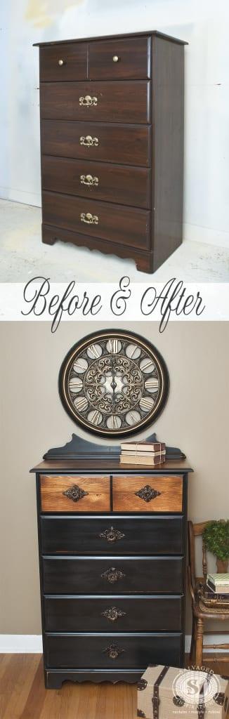 Dresser w Salvaged Backboard before&After
