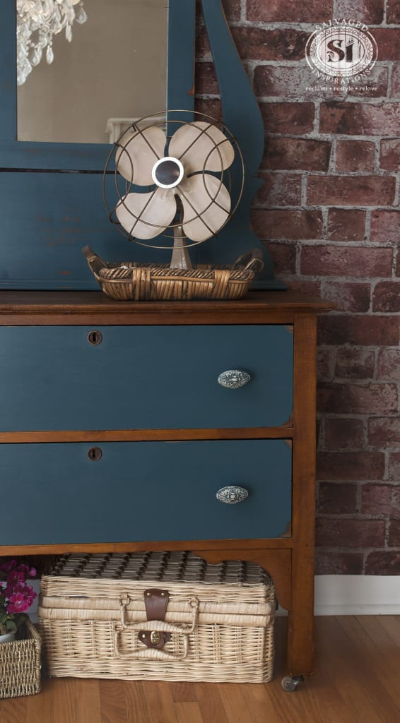 Blue Painted & Stained Antique Dressser w Mirror
