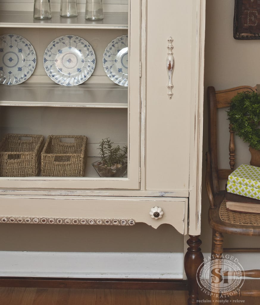 Painted & Stained 1930's China Cabinet