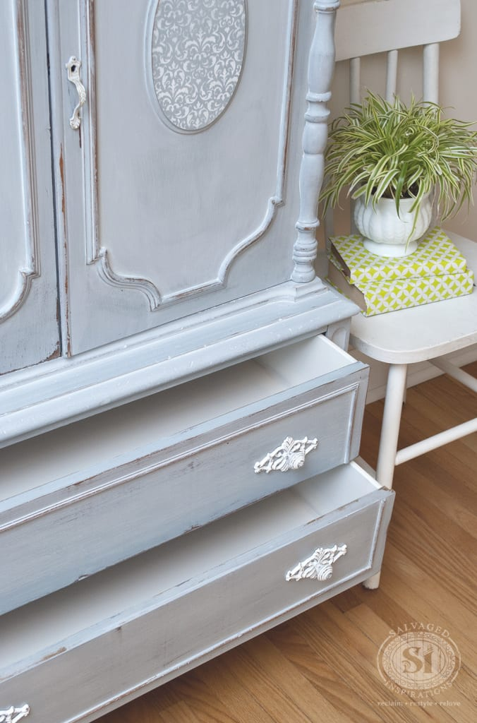 French Armpoire Painted Drawers