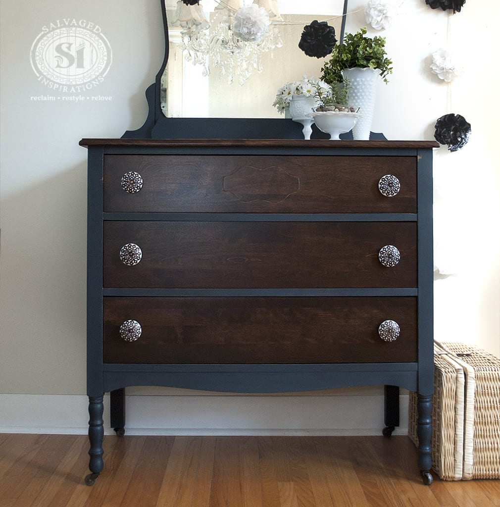 Bluestone cottage vintage velvet dresser salvaged for Dark grey furniture paint