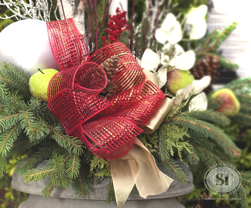 diy christmas urn holiday planter and bow - Decorating Front Porch Urns For Christmas