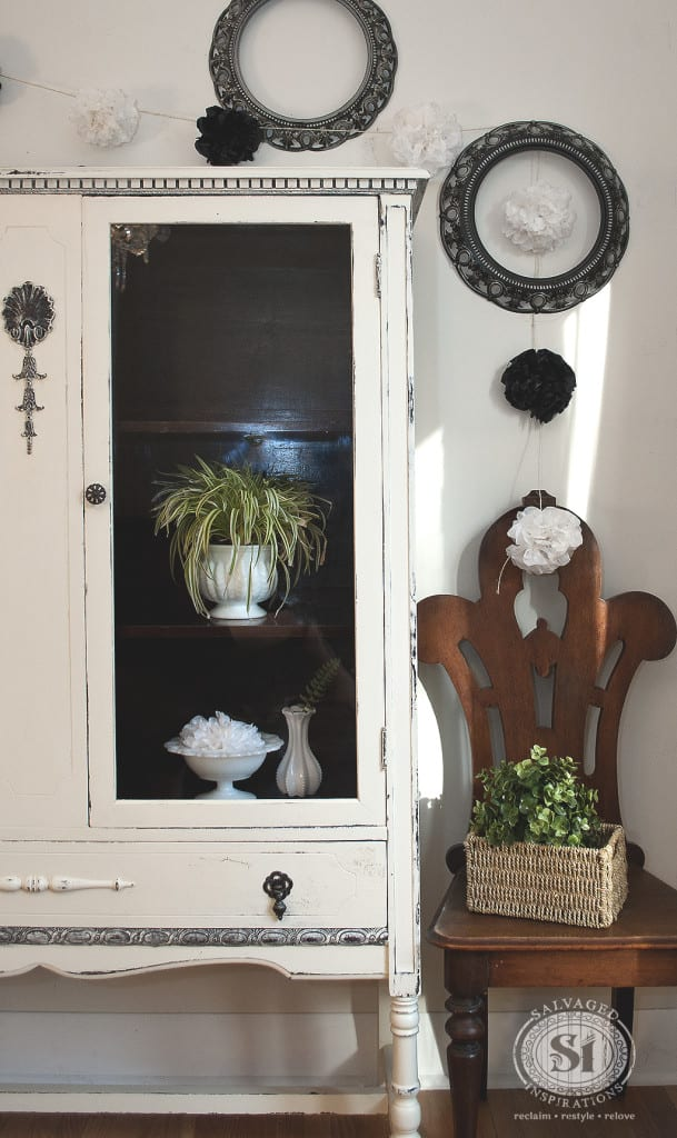 Vintage Chalk Painted China Cabinet