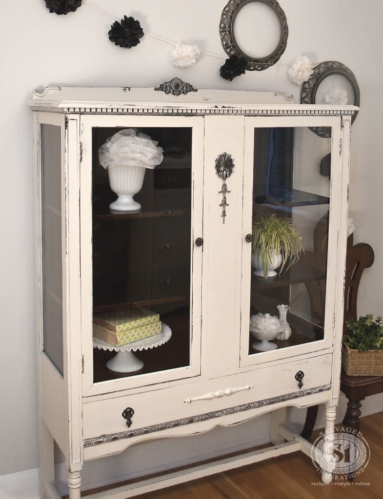 Vintage Chalk Style China Cabinet