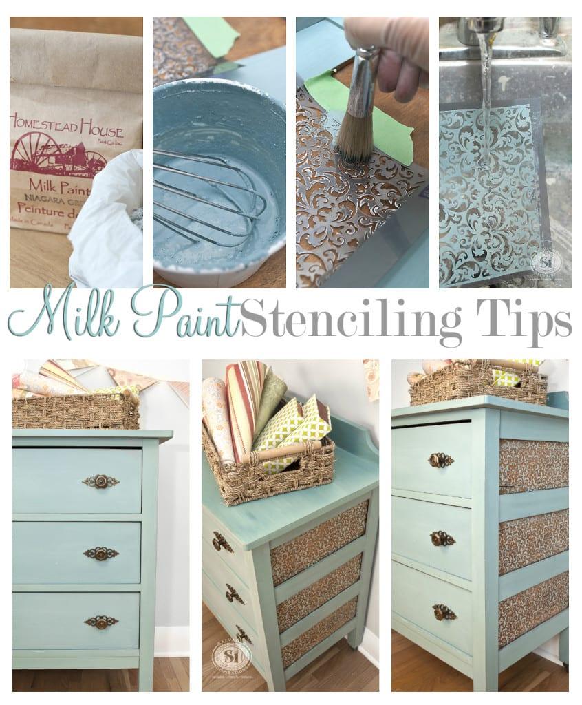 Milk Paint Stenciling Tips - Niagara Green Dresser