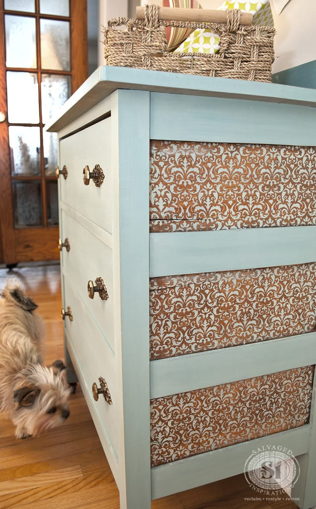 Stenciled Furniture Panels w Milk Paint