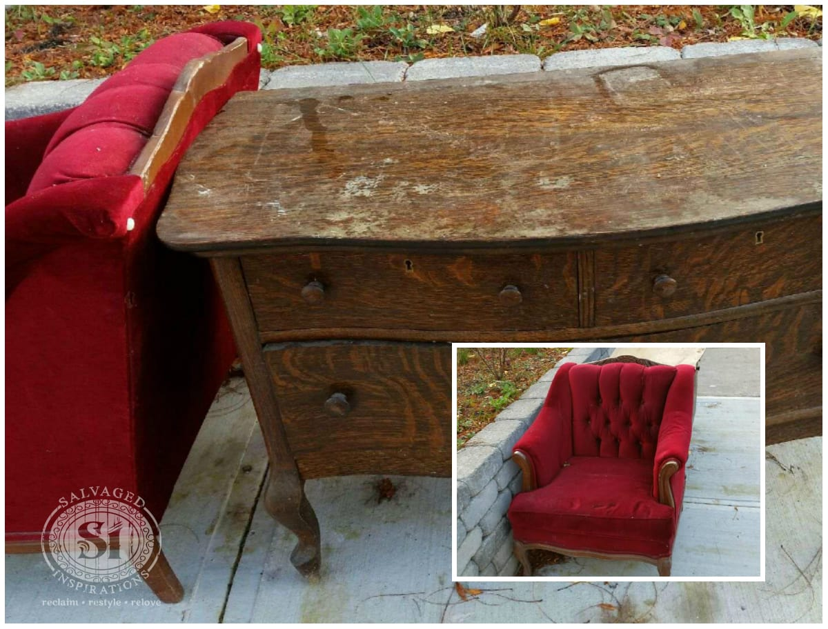 salvaged chair and lowboy dresser