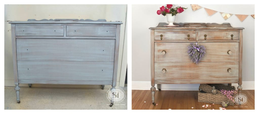 Grey Washed Dresser Before&After Sanding