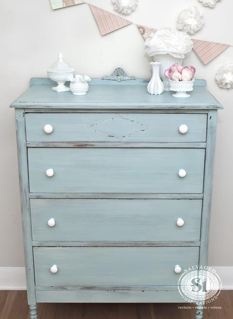 MMS Eulalies Sky Milk Painted Vintage Dresser