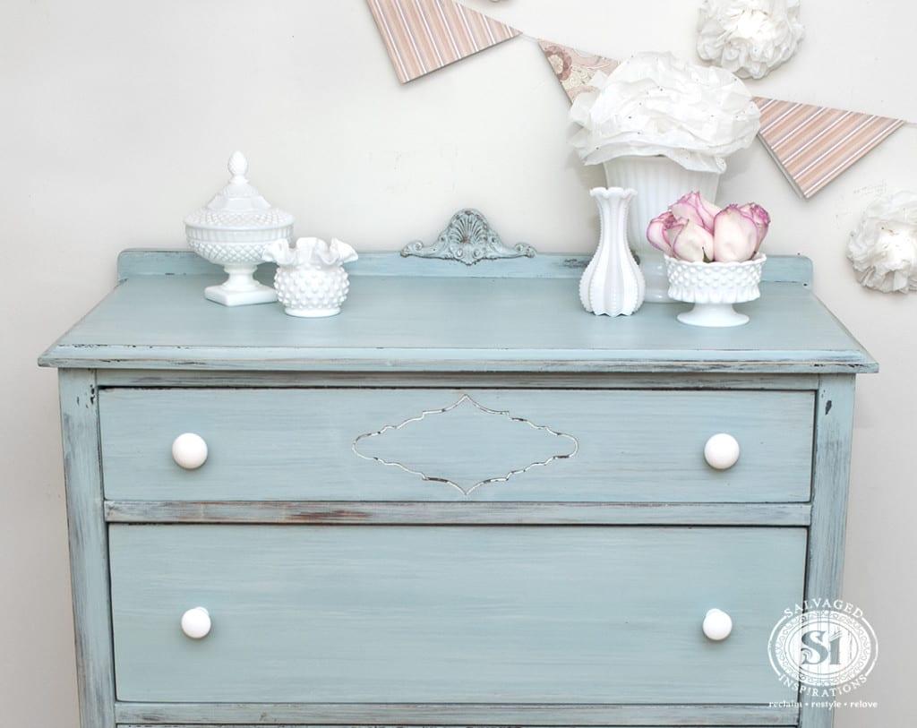 MMS Eulalies Sky Milk Painted Vintage Dresser-Top