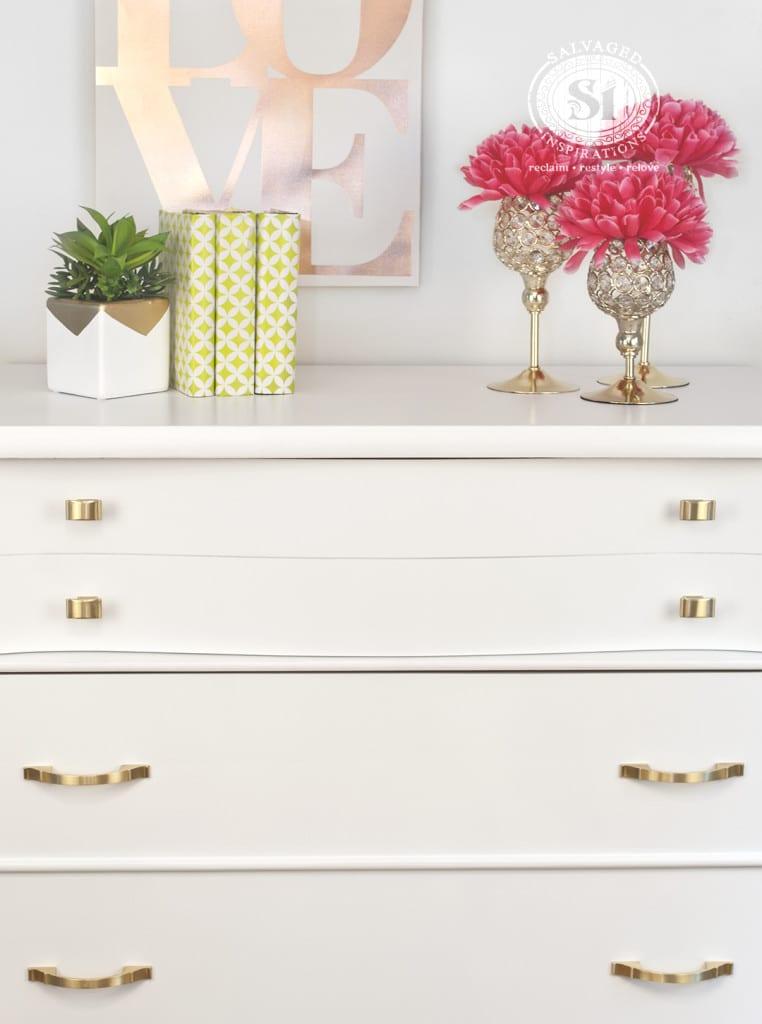 Brushed Gold Hardware on Kroehler Dresser