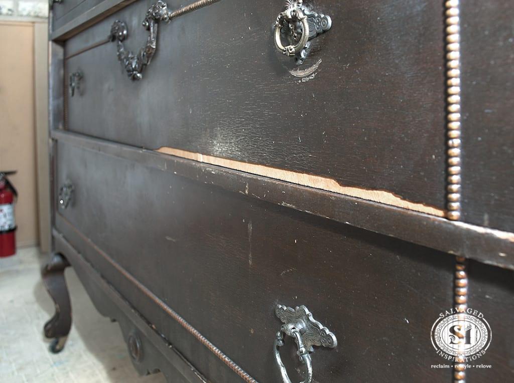 Peeling Veneer on Antique Dresser