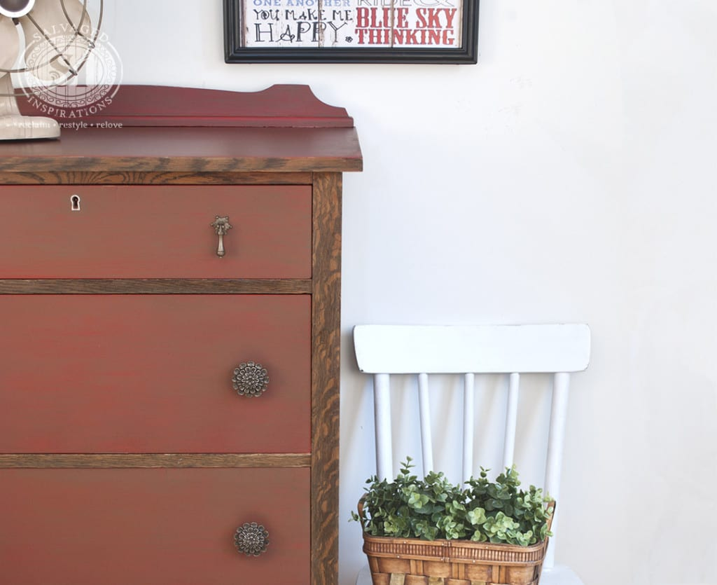 Farmhouse Chic - Painted and Stained Vintage Dresser