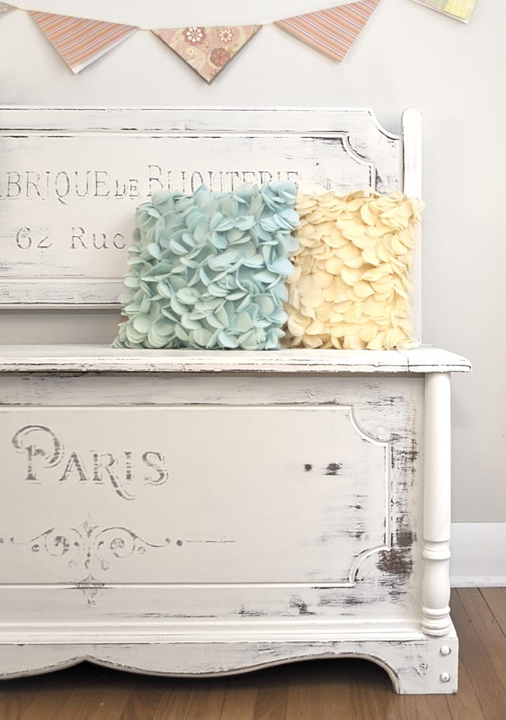 French Script Painted Bench-Chest1