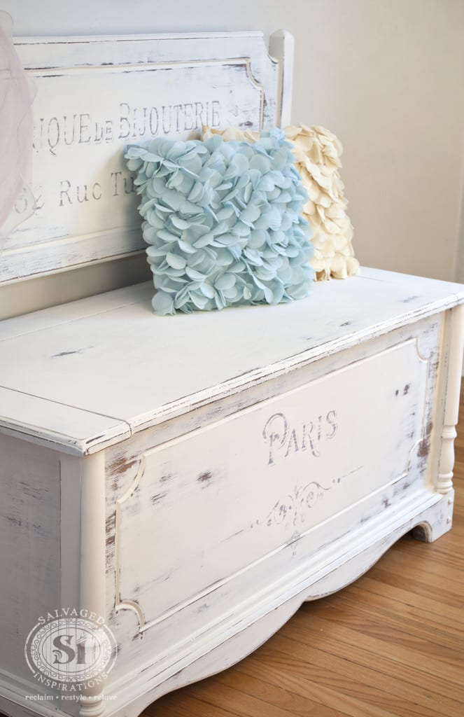 White Painted French Script Bench