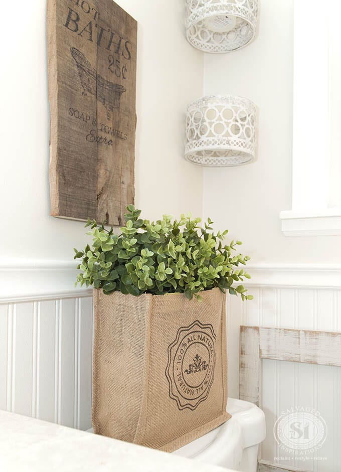 Burlap Bag filled with Greenery