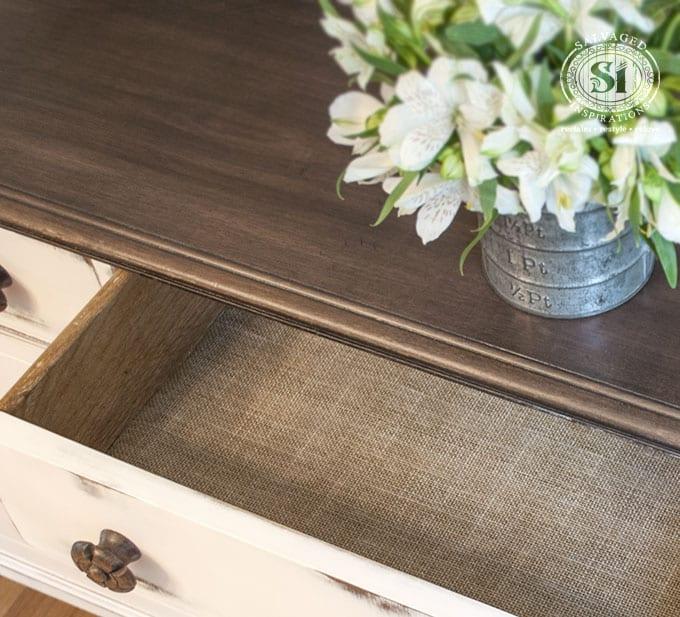 Burlap Paper Lined Dresser Drawers