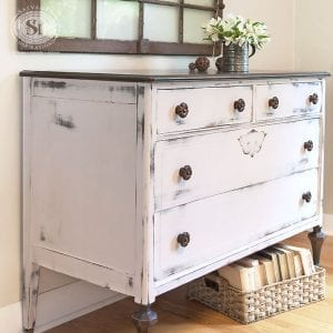 Farmhouse Chic Pink Dresser