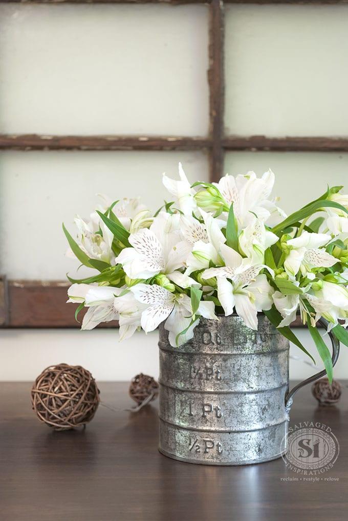 Flowers in Galvanized Jug