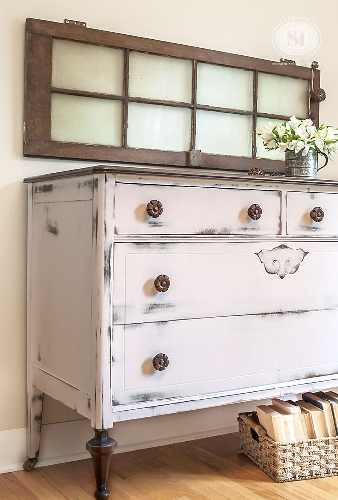 Pretty In Pink Farmhouse Chic Dresser