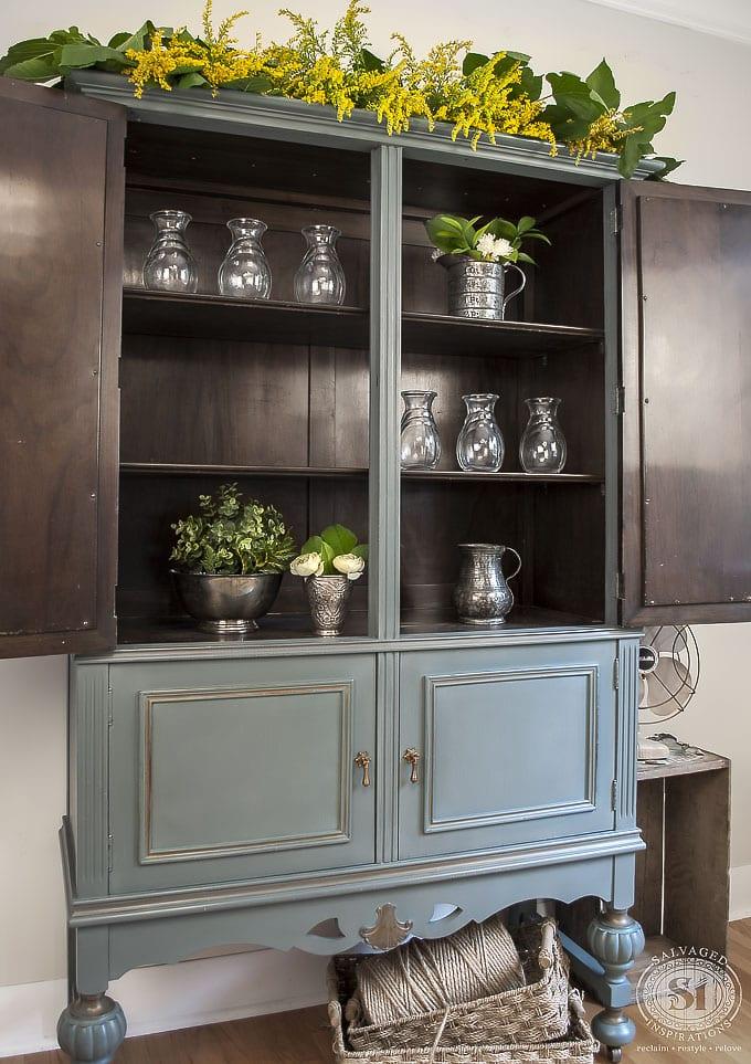 Painted Vintage Cabinet w Bluestone Barn Door