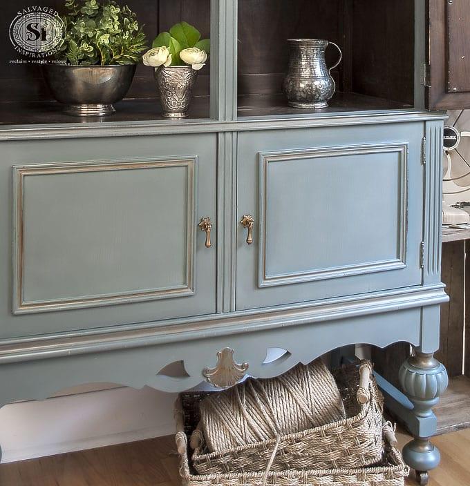 Painted Vintage Cabinet w Bluestone Barn Door1