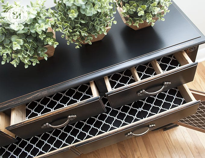 lined-drawers-on-black-pottery-barn-buffet
