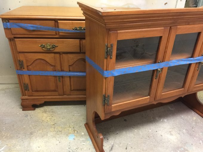 80's buffet and hutch - before