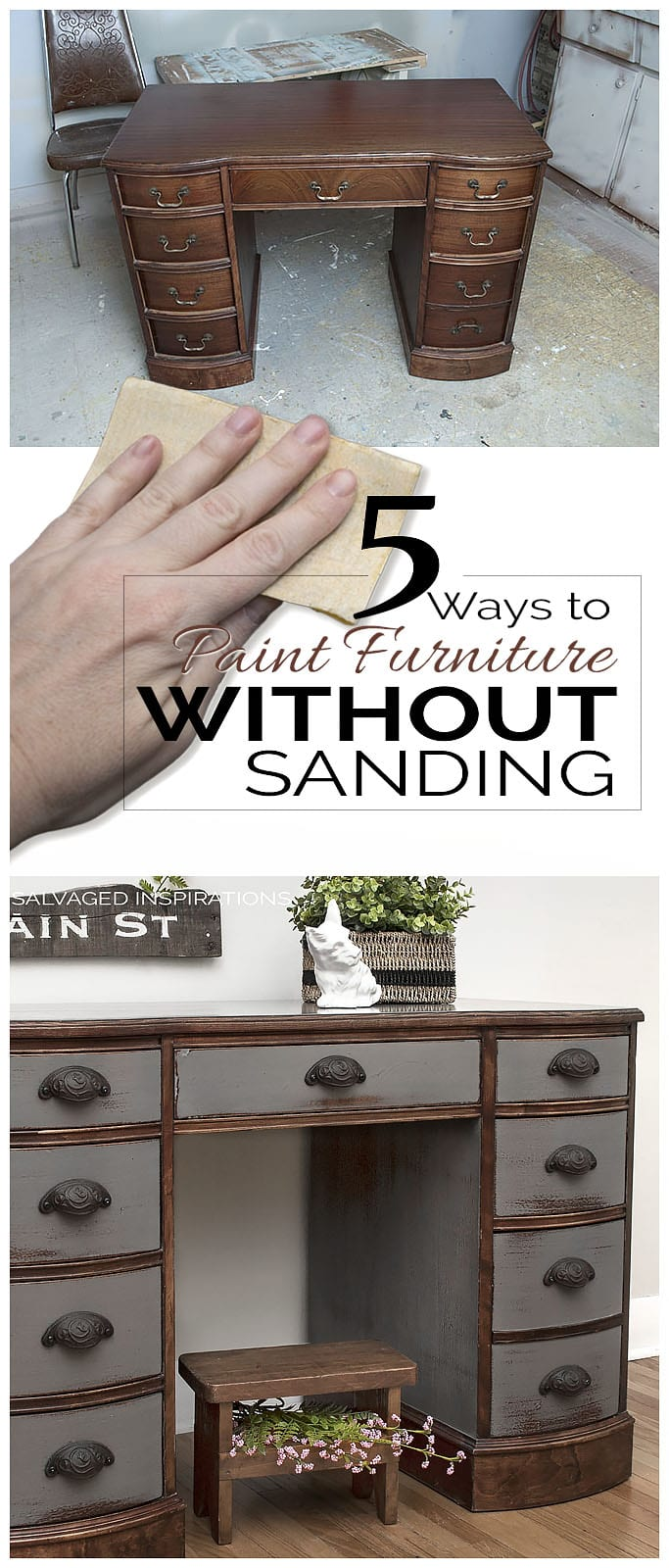Milk Painted Desk1 5 Ways To Paint Furniture Without Sanding