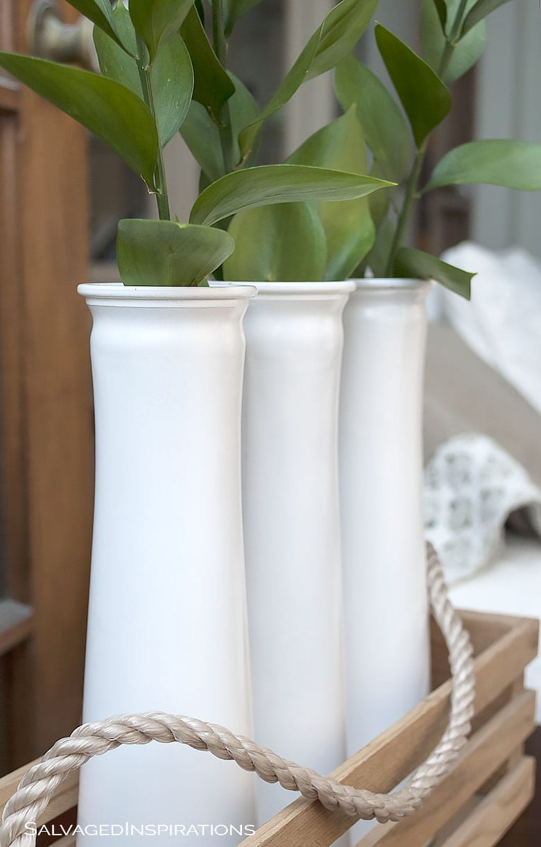 Glass Vases Spray Painted White