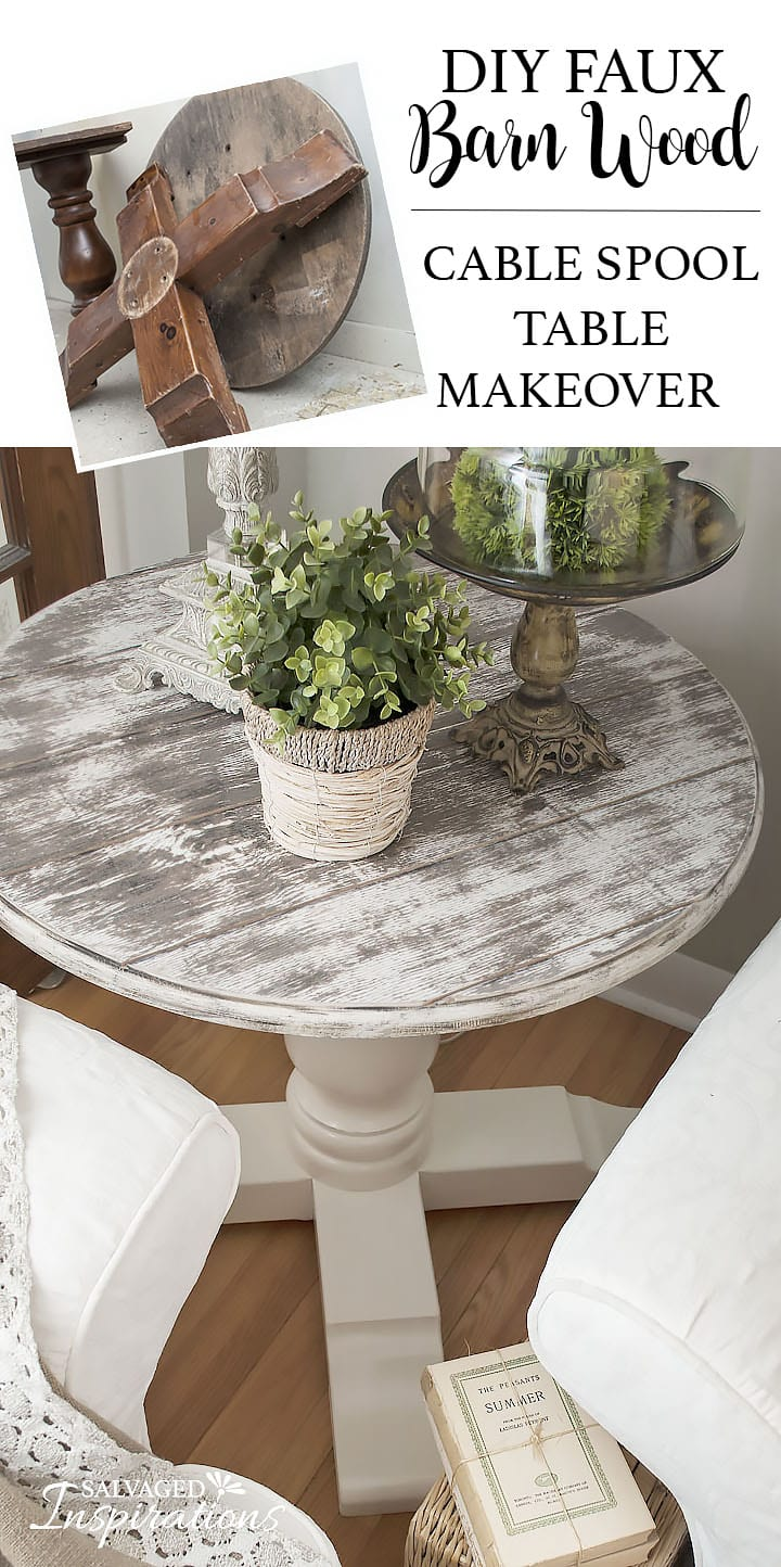 Before & After Faux Barn Wood Spool Table