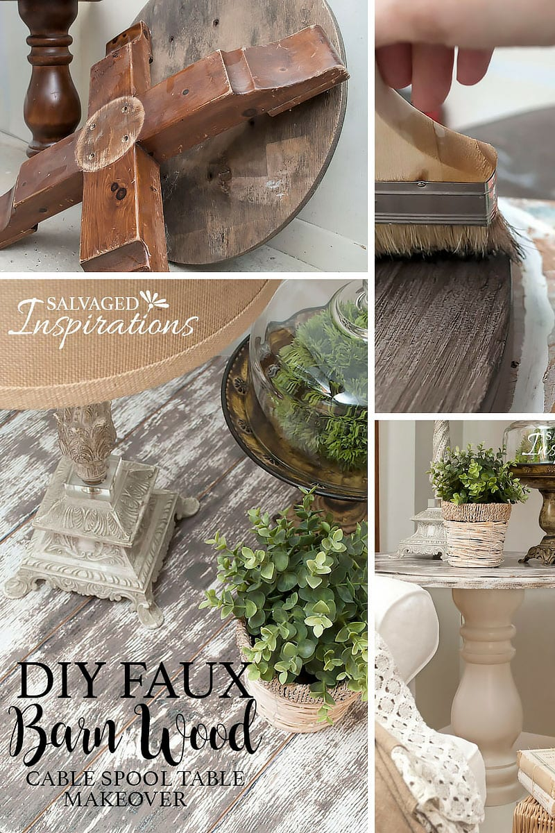 DIY Faux Barn Wood Cable Spool Makeover