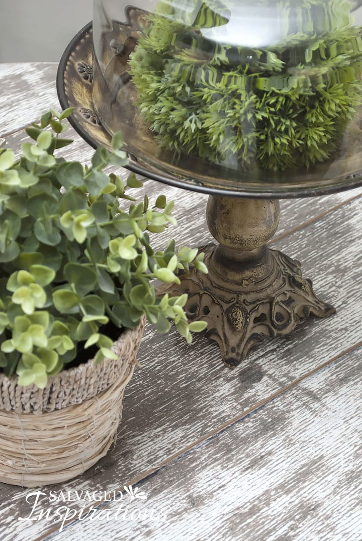 Greenery w DIY Barn Wood Spool Table