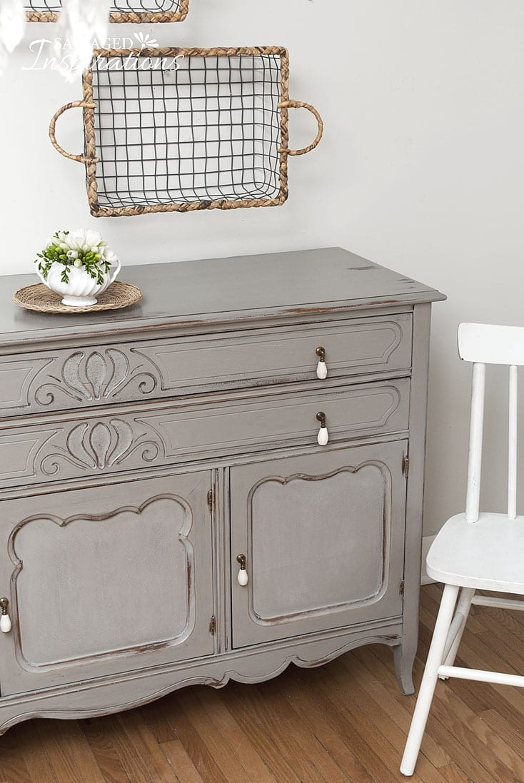 French Linen Painted Thrift Sideboard w Baskets